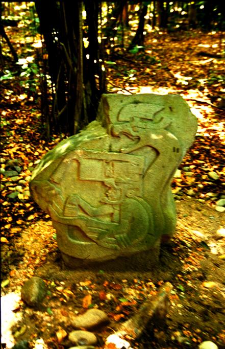 Dragon monolith in Villa Hermosa, Mexico (Monument 19)